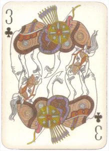 Mongolian National Economical Bank lovely graphic design Three of clubs 02